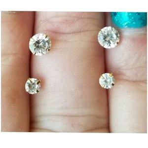 Genuine 10k Yellow Gold White Sapphire Earrings